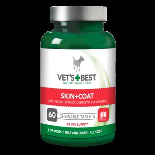 Papildas šunims odai ir kailiui Vet's Best Skin + Coat 60 tablečių