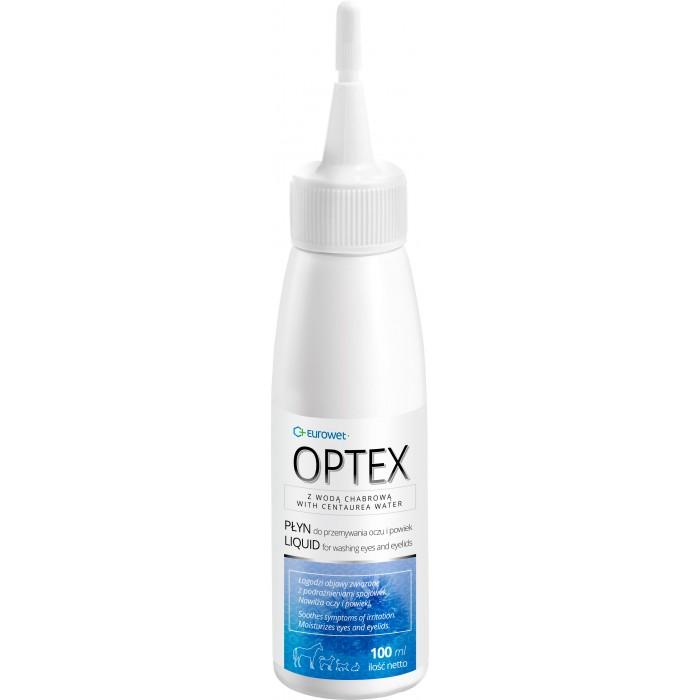 Akių ir vokų plovimo tirpalas šunims ir katėms Eurowet Optex 100 ml