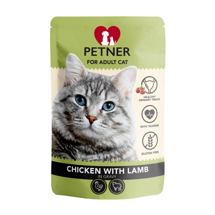 Konservai katėms su vištiena, antiena ir spanguolėmis padaže Petner 85 g