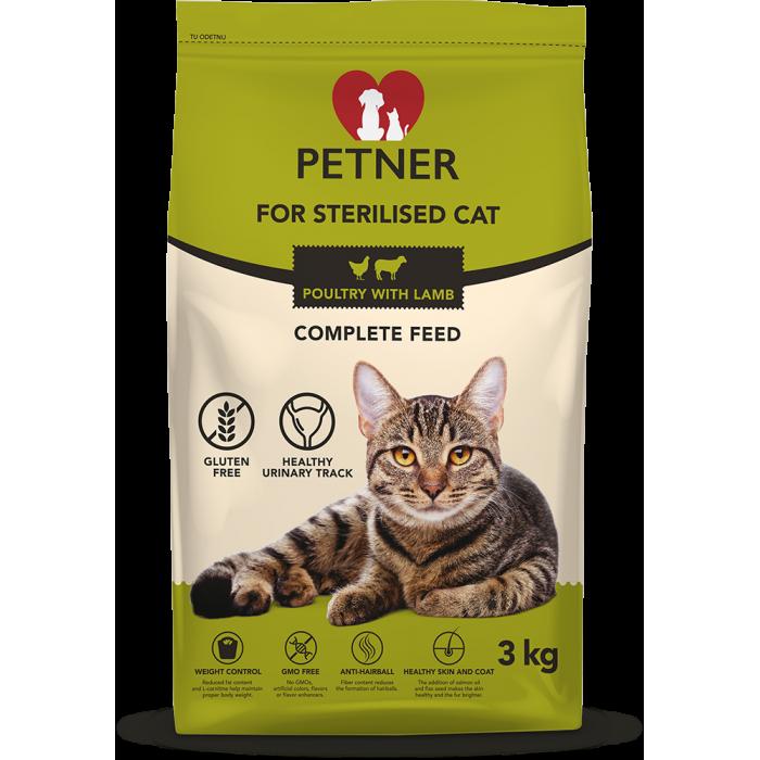 Maistas sterilizuotoms / kastruotoms katėms su paukštiena ir ėriena Petner 3 kg