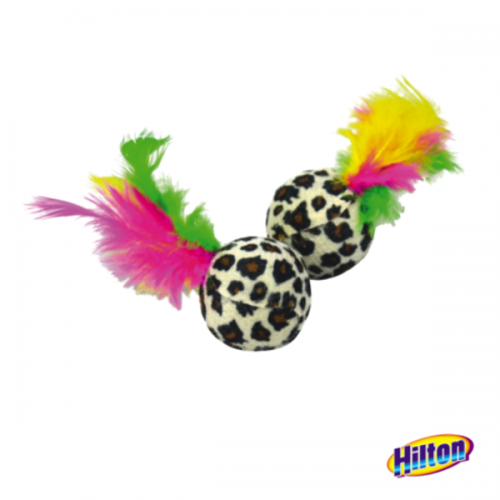 Žaislas katėms kamuoliai su plunksnomis Hilton 4cm (2 vnt.)