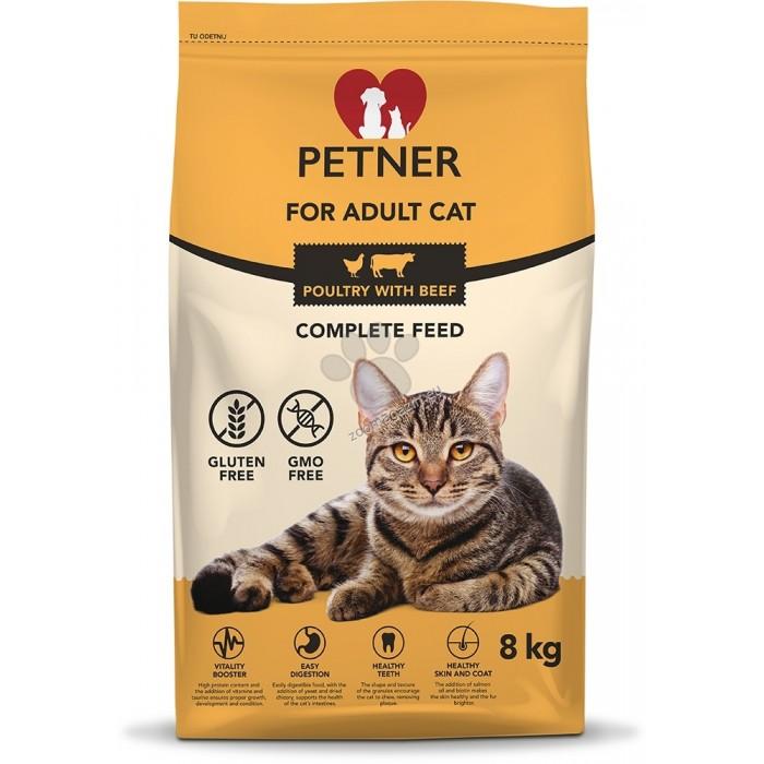 Maistas katėms su vištiena ir jautiena Petner 3 kg